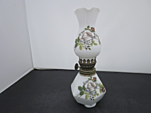 Miniature Milk Glass Oil Lamp Hand Painted Rose Motif