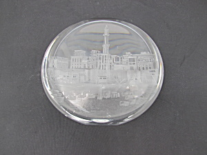 Norway Port Etched Paperweight Signed Hadeland Dec 1983