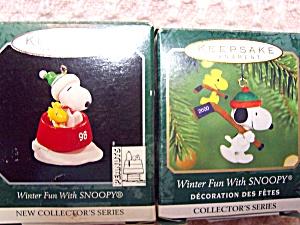 Snoopy Ornament Hallmark Winter Fun set of 2 (Image1)