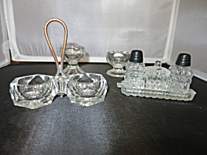 Salt Cellar Footed Tray Lot Of Four Pressed & Crystal