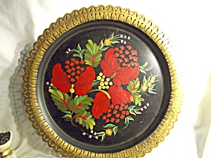 Floral Tole Painted Tin Tray Round 12 Inch