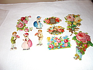 Antique Greeting Card cut outs lot of 10 (Image1)