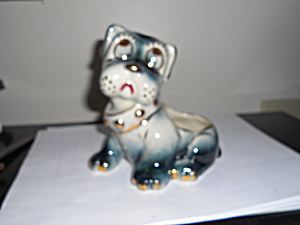 Dog Planter With Gold Accents