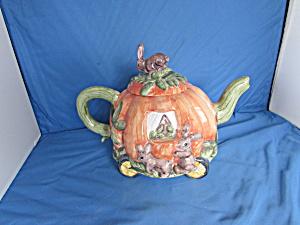Lotus Pumpkin Teapot with Bunnies Porcelain  (Image1)