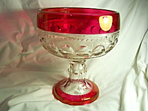 Kings Crown Ruby Flash Glass Compote Indiana