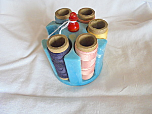 Vintage Thread Spool Sewing Caddy With Thread (Image1)