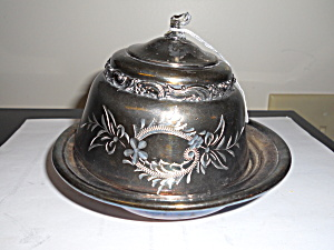 J B and Co Silver Plated Covered Butter Dish (Image1)