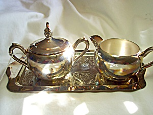 Rogers Silver Plated Creamer Sugar Tray Set (Image1)