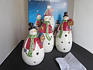 Snowmen with color changing LED lights Porcelain set (Image1)