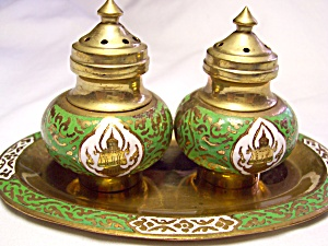 Buddha Brass Salt and Pepper shakers Tray (Image1)