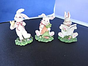 Vintage Bunny Rabbit Figurine 3pc set Village Accessory (Image1)