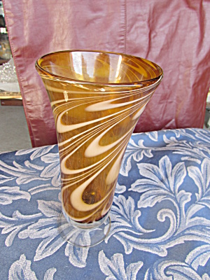 Teleflora Footed Vase Brown Amber White Swirl Glass