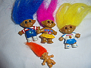 Ace Novelty Troll Lot Of Four Painted