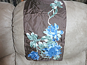 Acetate Vera Signed Scarf Floral 52 X 10 1/4 Inch Brown