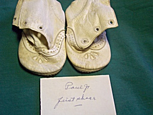 Vintage Baby Shoes White Leather