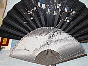 Antique Hand Fan Lot of two Blue Birds  (Image1)