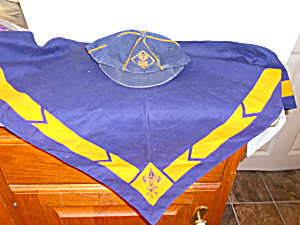 Vintage Cub Scouts Cap And Scarf Set