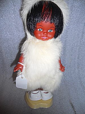 Vintage Eskimo Doll With Stand Original