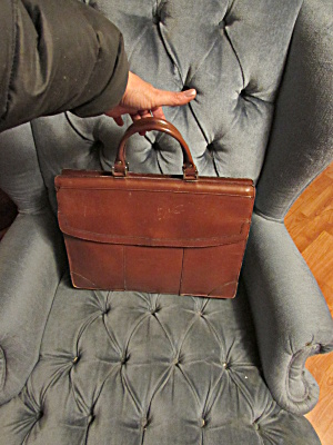 Vintage Leather Briefcase Made In Korea