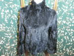 Click here to enlarge image and see more about item 1040-17: Vintage Wilsons Leather Maxima Black Rabbit Fur Jacket