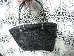 Click to view larger image of Black Handbag with Beaded handles and Tassel Trim (Image2)