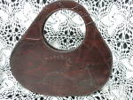 Click to view larger image of Vintage Large Round Bag Brown Faux Leather Tote (Image1)