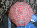 Click here to enlarge image and see more about item 577-18: Vintage Umbrella Foo Bamboo Hook Handle Red Plaid