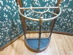 Click here to enlarge image and see more about item 584-18: Vintage Umbrella Stand Brass finish and wood Cane Stand