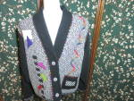Click here to enlarge image and see more about item 624-17-a: Lynn Murray Wool Patchwork Art Deco Jacket Blazer
