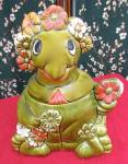 Click here to enlarge image and see more about item 726-328: California Originals Sitting Turtle Cookie Jar Flowers