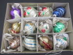 Click here to enlarge image and see more about item 788-16: West Germany boxed set Glass Ornaments Bulb Bulbs