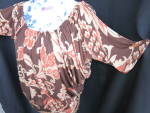 Click to view larger image of Vintage Scoop Neck Batwing Blouse Hand Tailored Size L (Image2)