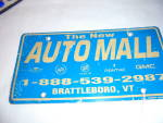 Click here to enlarge image and see more about item MB-ADV106: Auto Mall License Plate Advertising
