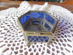 Click here to enlarge image and see more about item 31-16: Cobalt Blue Floral Etched Trinket Box Hinged Mexico