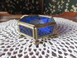 Click to view larger image of Cobalt Blue Floral Etched Trinket Box Hinged Mexico (Image5)