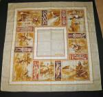 Click here to enlarge image and see more about item es32-20: Tar Melbourne Linen Square Tablecloth Australia 50 X 50