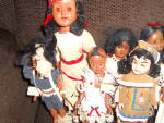 Click here to enlarge image and see more about item MB-HP109: Indian Doll Lot of 10 Hard Plastic Dolls circa 1940s to 1950s