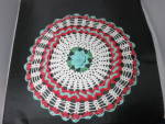 Click here to enlarge image and see more about item mb-3364: Vintage Crochet Round Doily 3 D turquoise green red white 17 inch