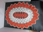 Click here to enlarge image and see more about item mb-3365: Vintage Crochet Doily Oval Pineapple orange cream 27 X 21 inch