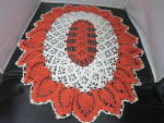 Click to view larger image of Vintage Crochet Doily Oval Pineapple orange cream 27 X 21 inch (Image3)