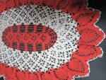 Click to view larger image of Vintage Crochet Doily Oval Pineapple orange cream 27 X 21 inch (Image4)