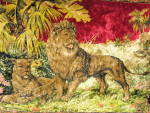 Click here to enlarge image and see more about item tvt-a2: Vintage Lion Family Tapestry Rug
