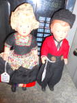 Click here to enlarge image and see more about item VD64: Dovina Dutch Boy and Girl Doll Holland