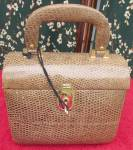 Click here to enlarge image and see more about item vpa1: Faux Alligator Box Purse with Key