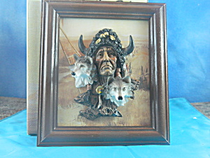 Mrh Native American W/bison Headdress & Wolves Plaque
