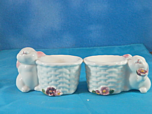 Avon Porcelain Easter Bunny Candle Holder Pair