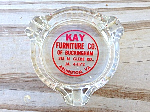 Kay Furniture Arlington VA Glass Ashtray (Image1)