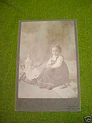 Early Cabinet Photo Little Girl W/dolls