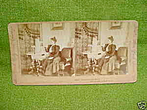 Early Stereoview Card Woman w/Dog (Image1)