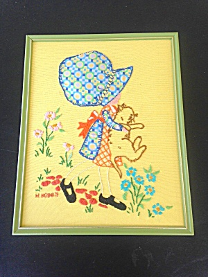 1970's Embroidered Holly Hobbie Hanging
